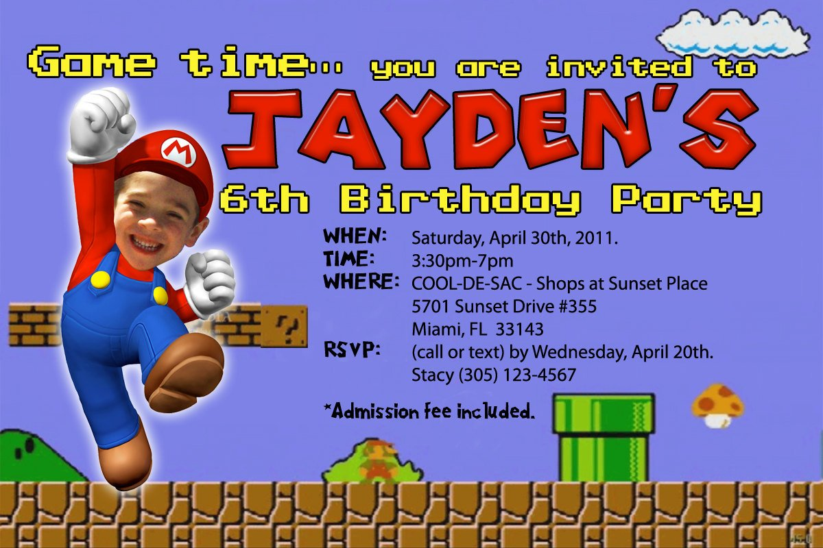 Super Mario Birthday Invitations – Bagvania FREE Printable ...
