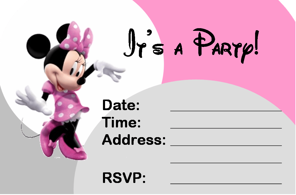 Beauty Printable Minnie Mouse Birthday Invitations