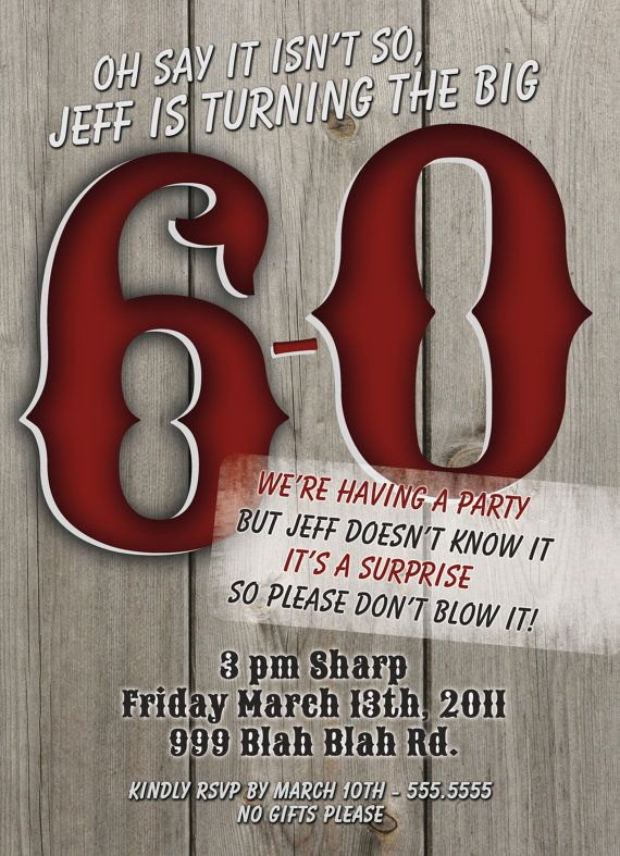 Big 60th Birthday Invitations for Men