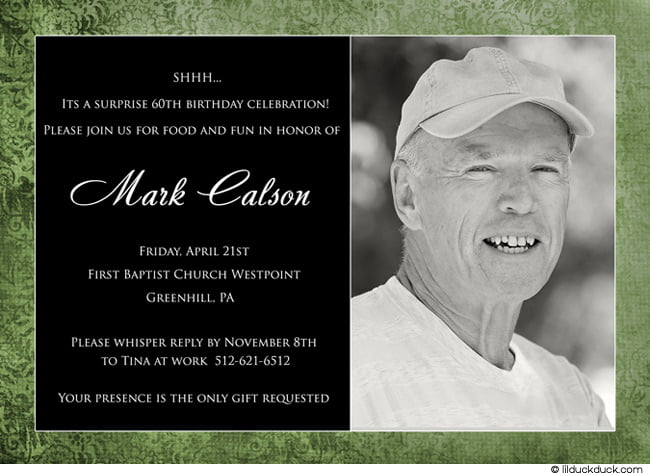Black and White 60th Birthday Invitations for Men