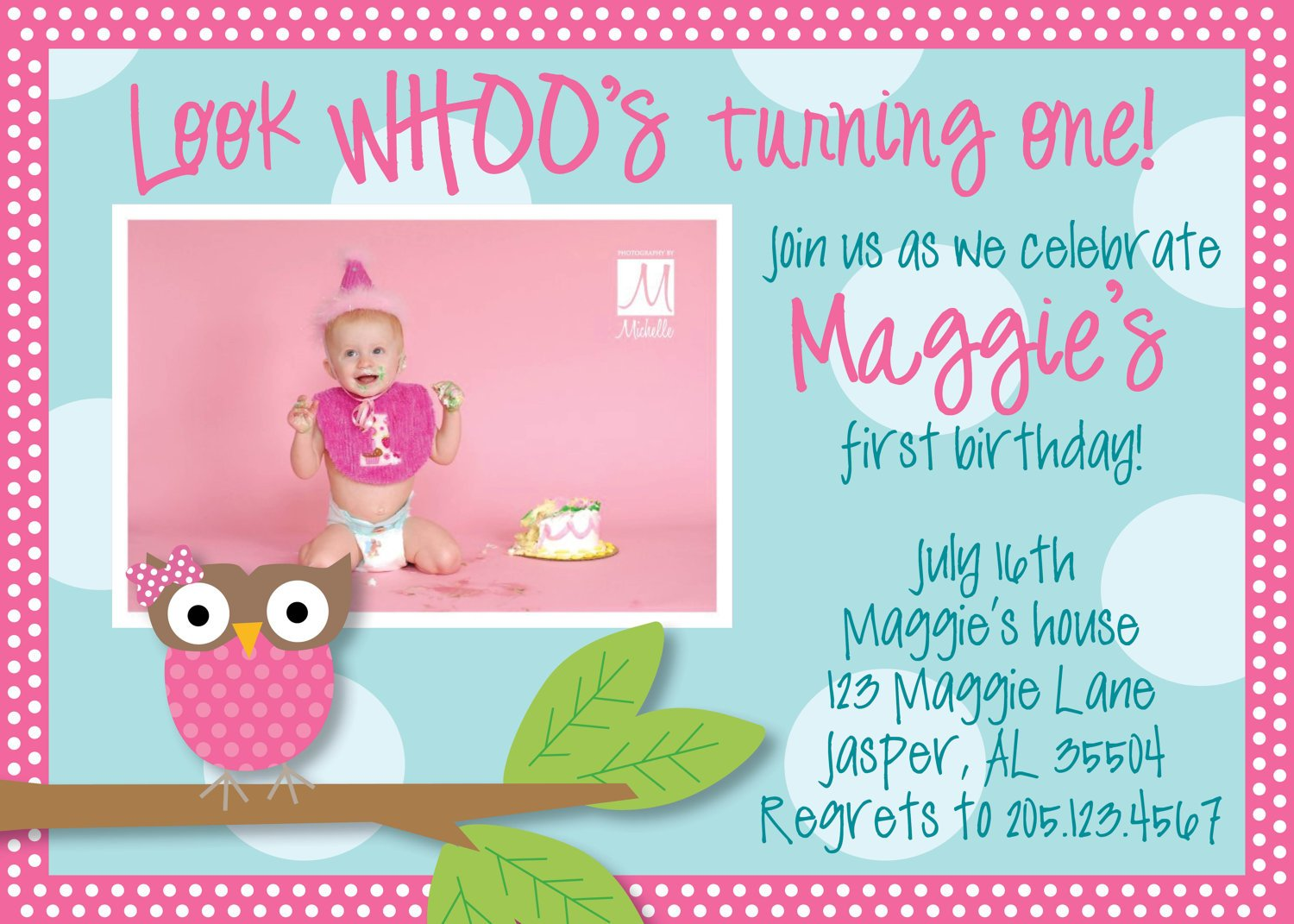 Owl 1st Birthday Invitations Ideas – Bagvania FREE Printable ...