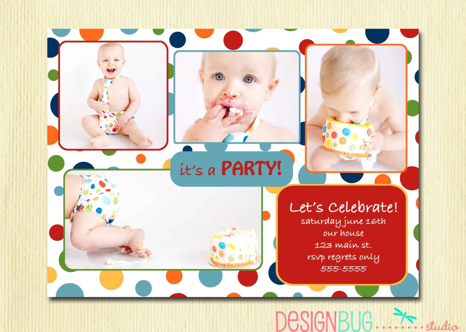 Cake First Birthday Party Invitation