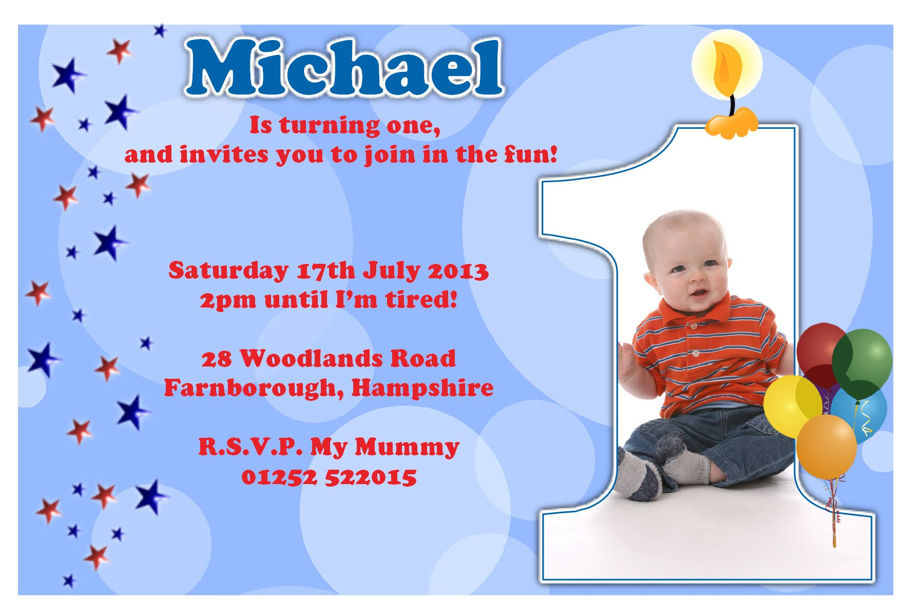 Candle First Birthday Party Invitation