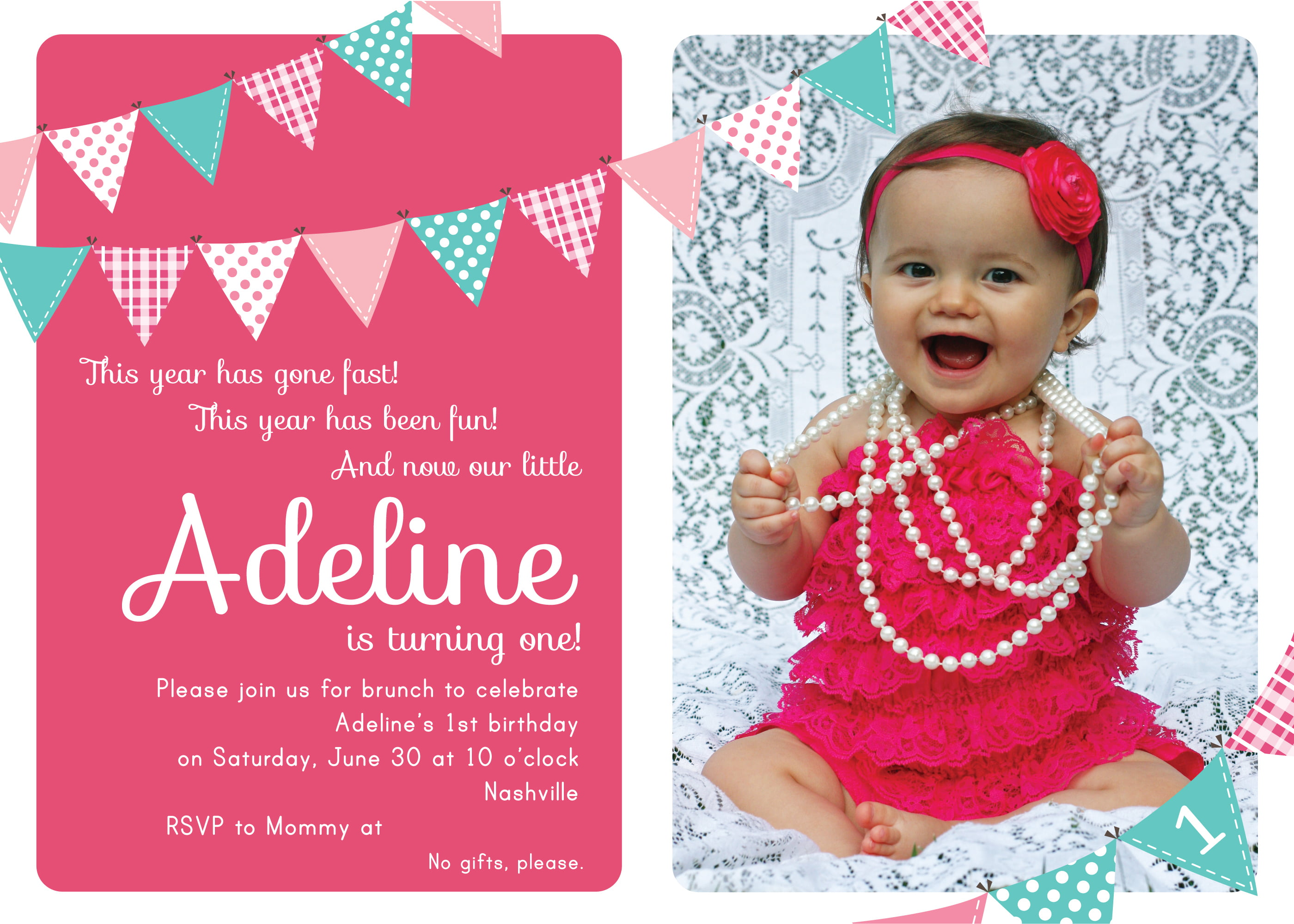 Pink First Birthday Party Invitation Candle FishNEW