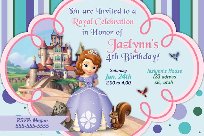 Princess Sofia Birthday Invitations Ideas Bagvania FREE Printable - Blank birthday card template 2