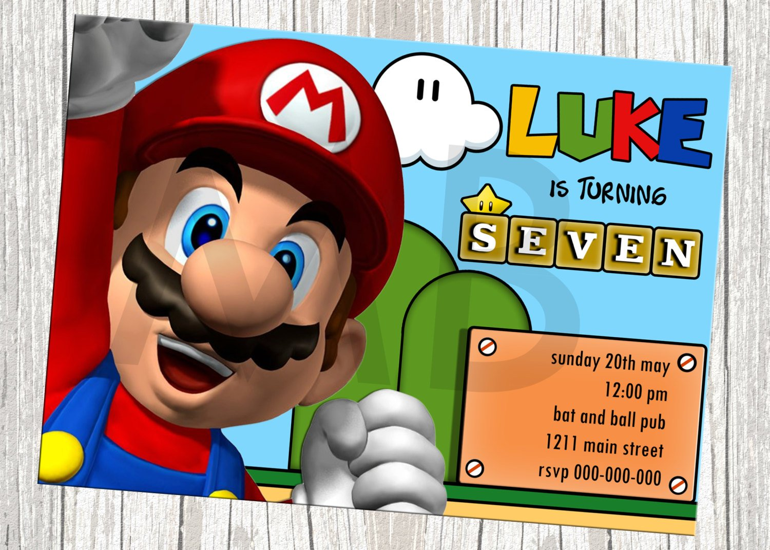 Super Mario Birthday Invitations Bagvania FREE Printable
