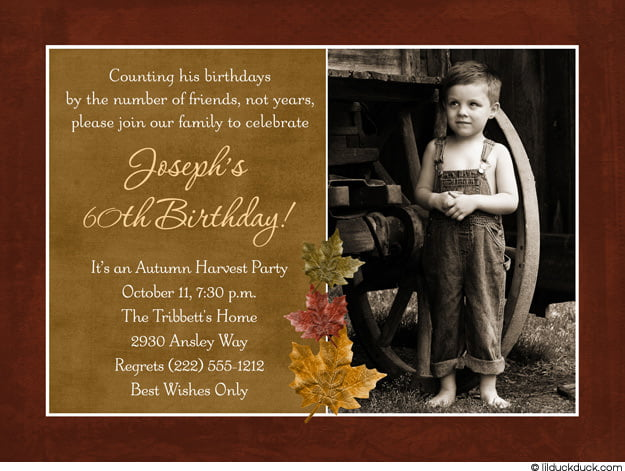 Old 60th Birthday Invitations for Men