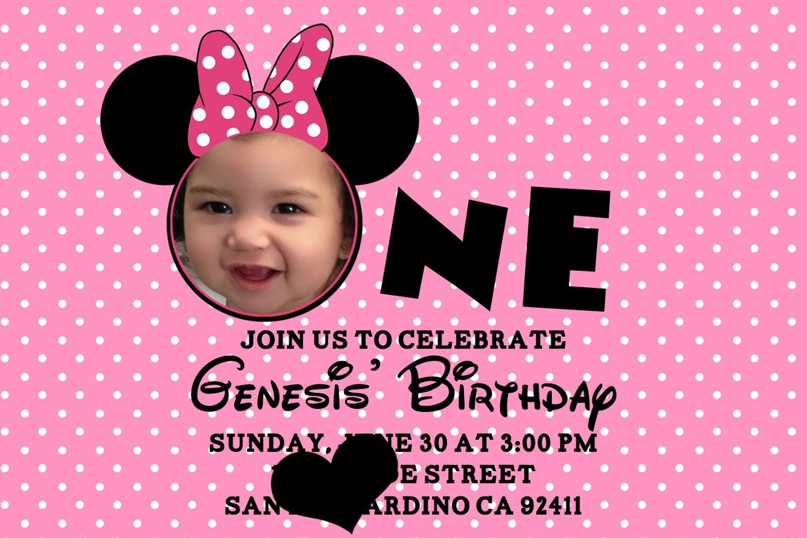 One Printable Minnie Mouse Birthday Invitations