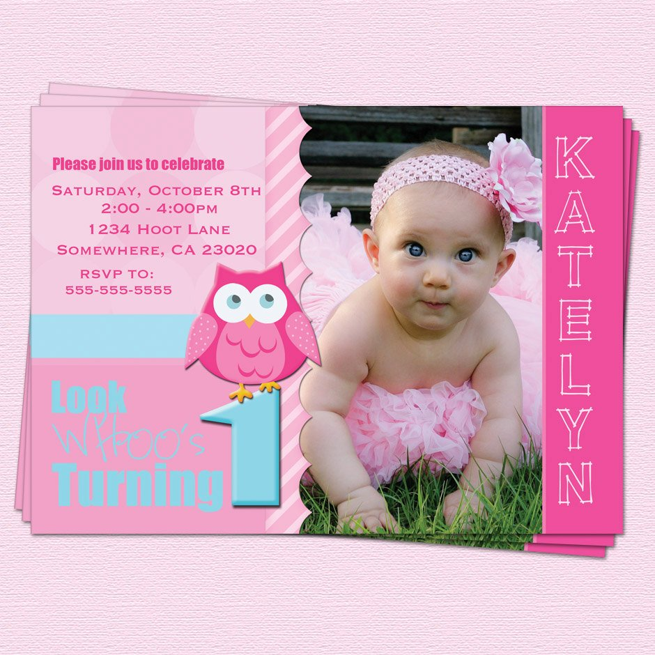 Owl 1st birthday invitations ideas bagvania free printable pinky owl 1st birthday invitations filmwisefo
