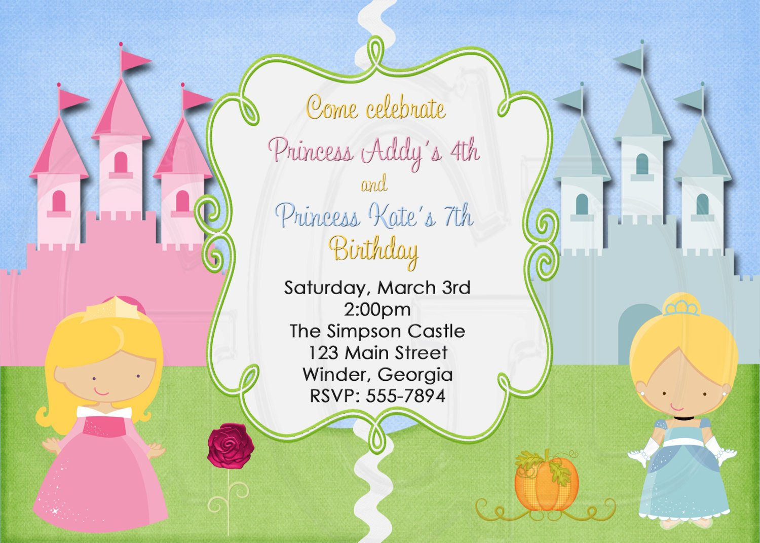 Joint birthday party invitations bagvania free printable princesses joint birthday party invitations stopboris Images
