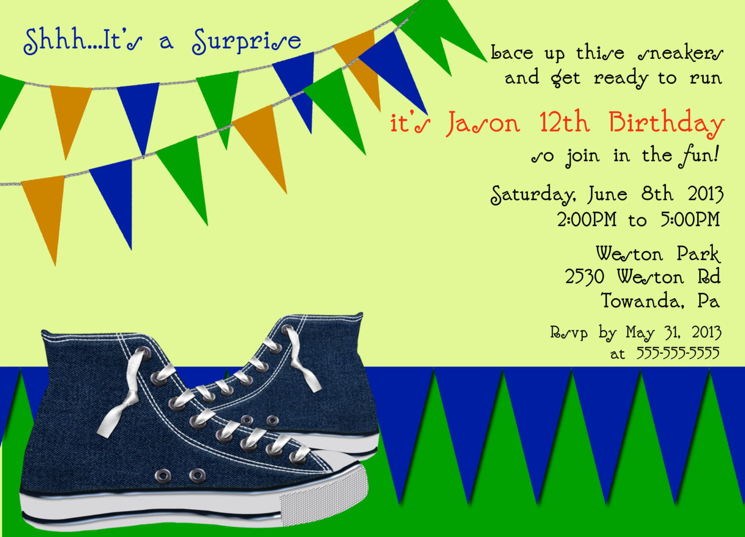 Sneaker 13th Birthday Party Invitation