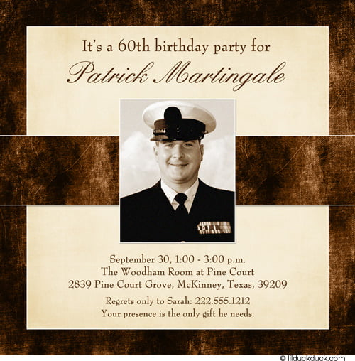 Square 60th Birthday Invitations for Men