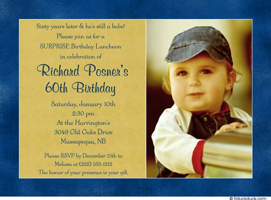 Then Baby 60th Birthday Invitations for Men