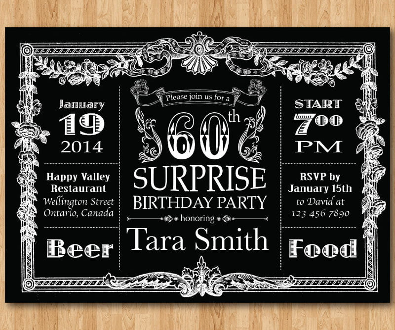 Vintage 60th Birthday Invitations for Men