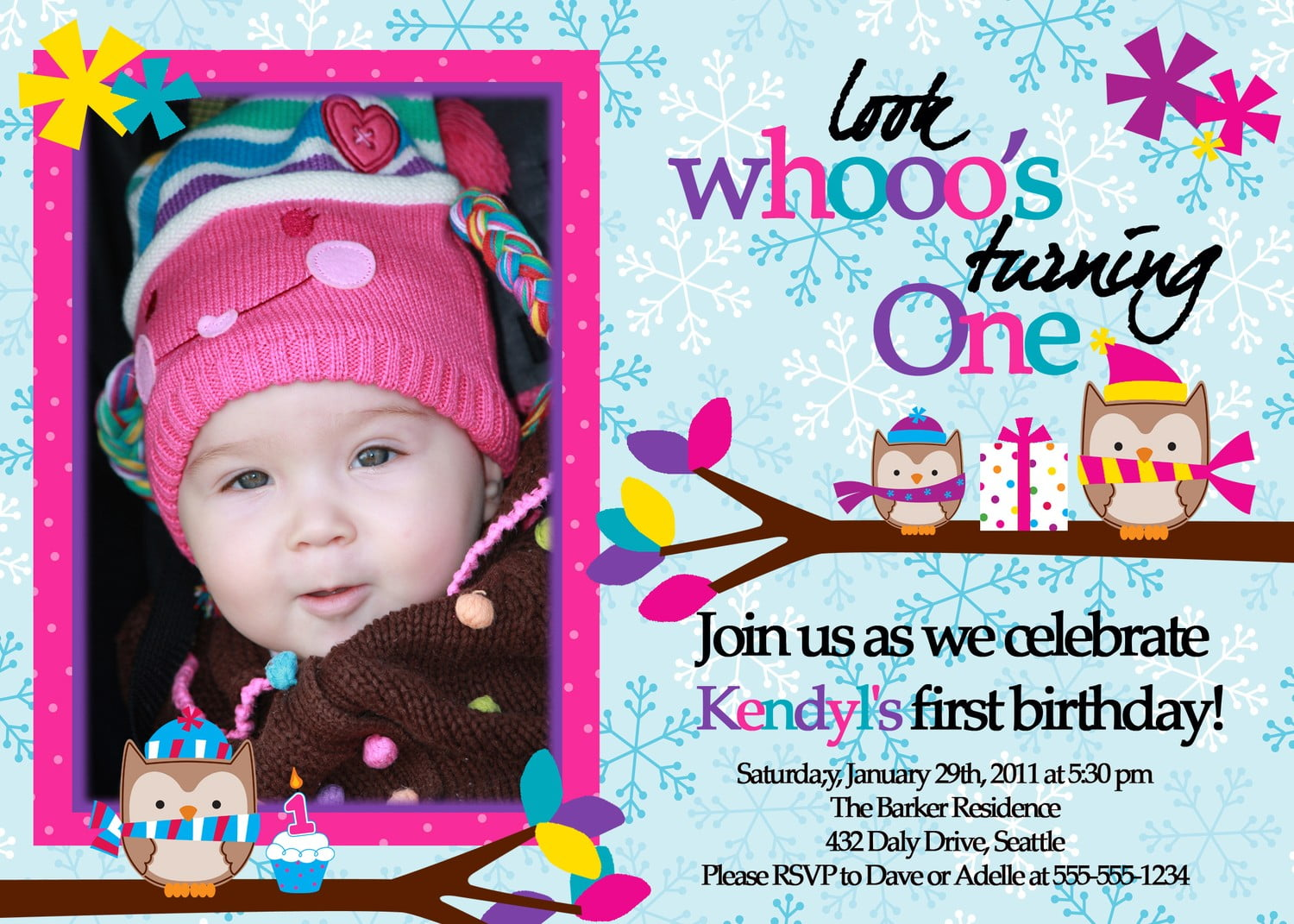 Owl 1st birthday invitations ideas bagvania free printable winter owl 1st birthday invitations stopboris Choice Image