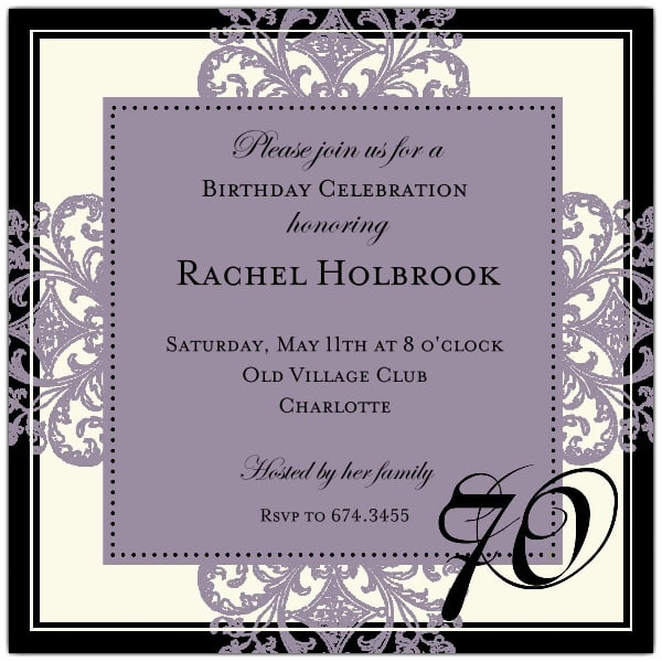 Classic 70 Birthday Invitations