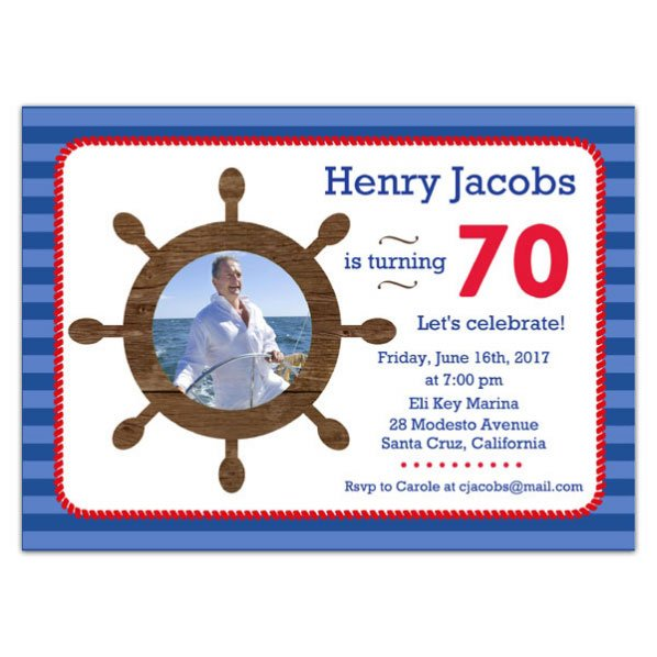Sailorman 70 Birthday Invitations