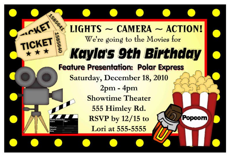 Hollywood Movie Birthday Party Invitations