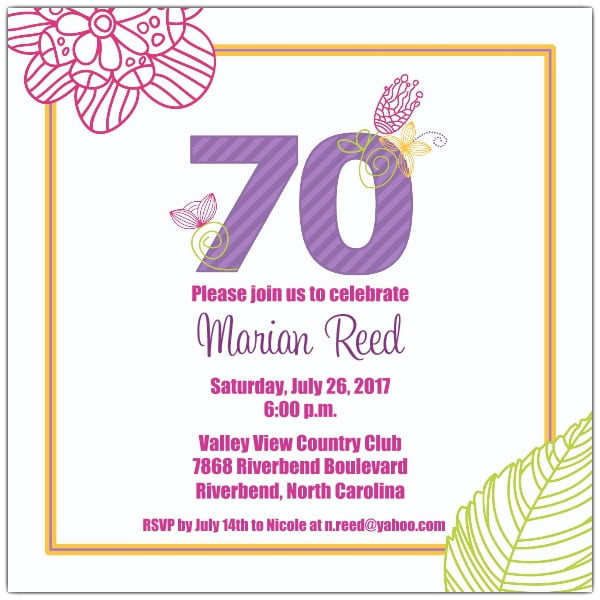 Flower 70 Birthday Invitations