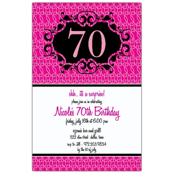 Classical Pink 70 Birthday Invitations
