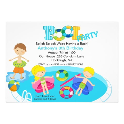 All Kids Birthday Pool Party Invitation
