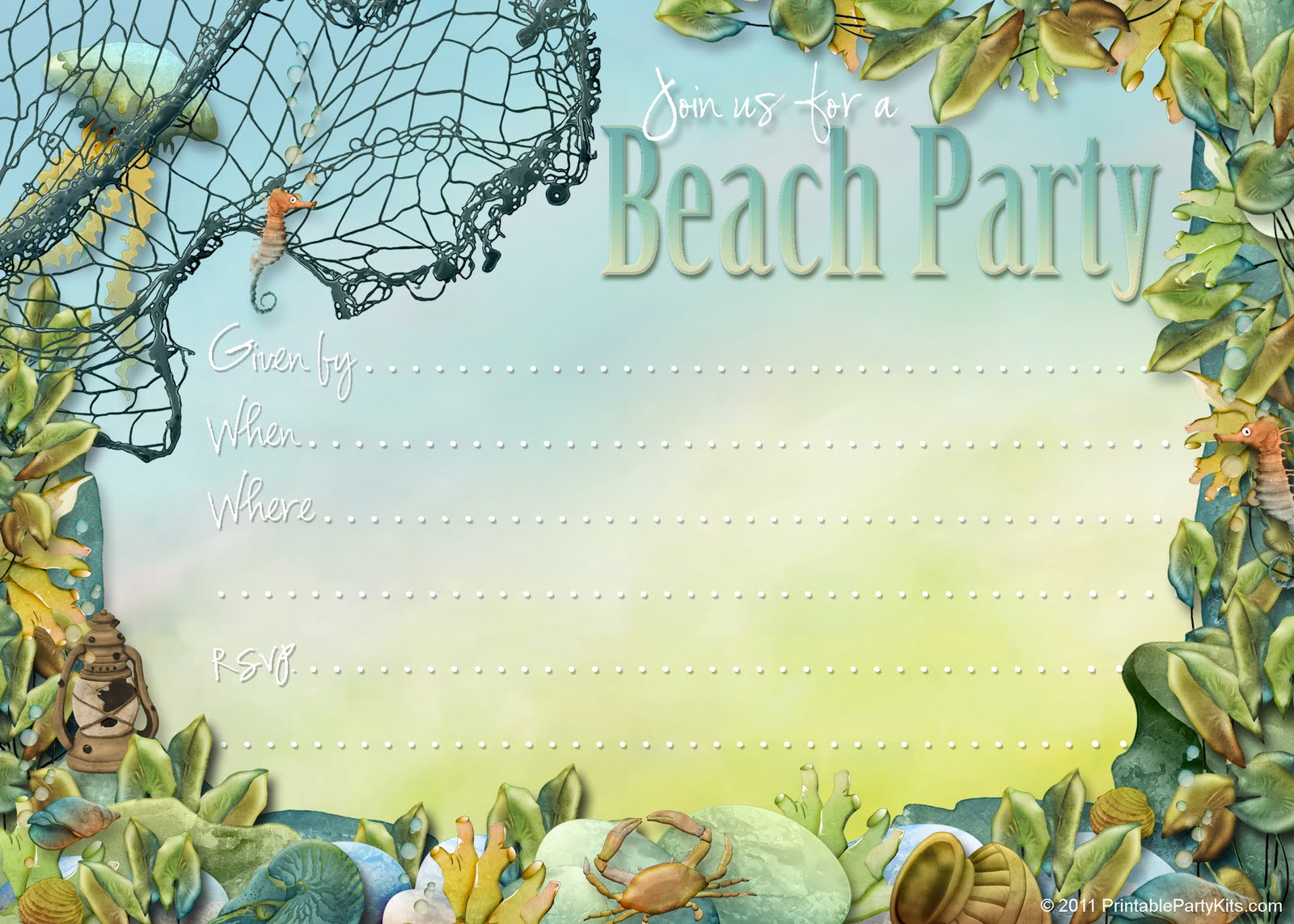 Fisherman Beach Free Printable Birthday Invitation Template