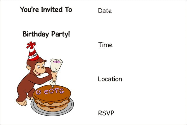 Curious George Free Printable Birthday Invitation Template