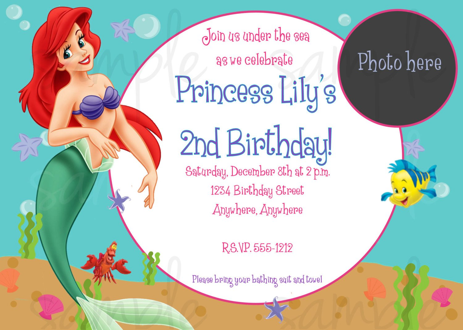 ... Party Invitation Ariel Little Mermaid Birthday Invitation Templates ...  Birthday Party Card Template