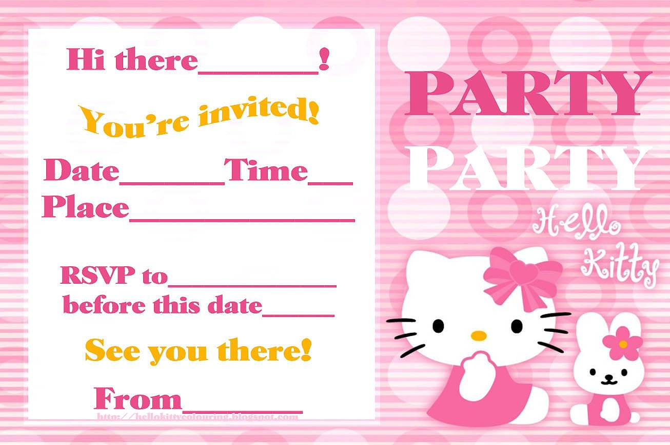... Free Hello Kitty Birthday Invitation Template ...  Birthday Party Card Template