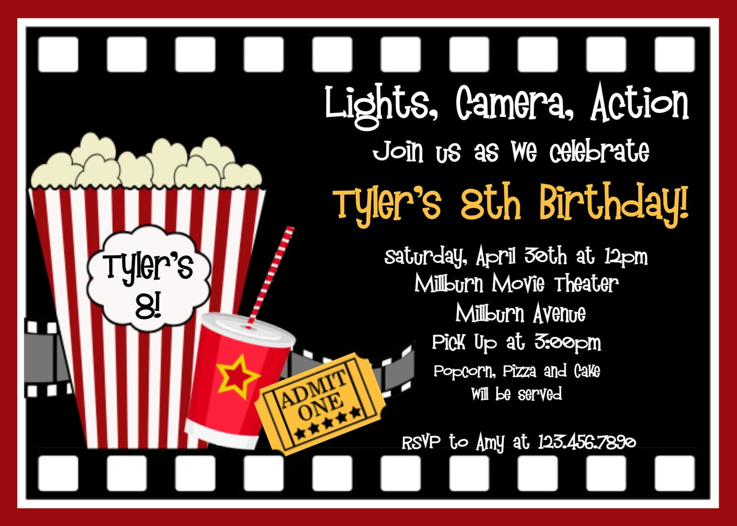 Printable Movie Birthday Party Invitations