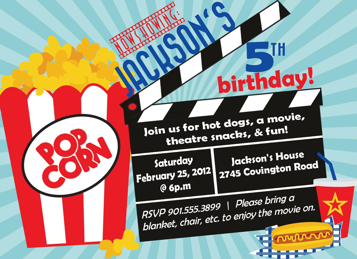 Blink Blue Movie Birthday Party Invitations