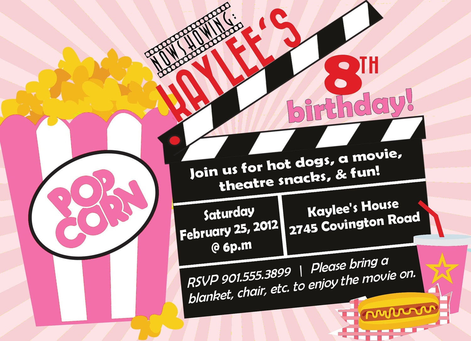 Colorful Movie Birthday Party Invitations