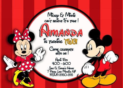 MICKEY MINNIE MOUSE BIRTHDAY INVITATION Red