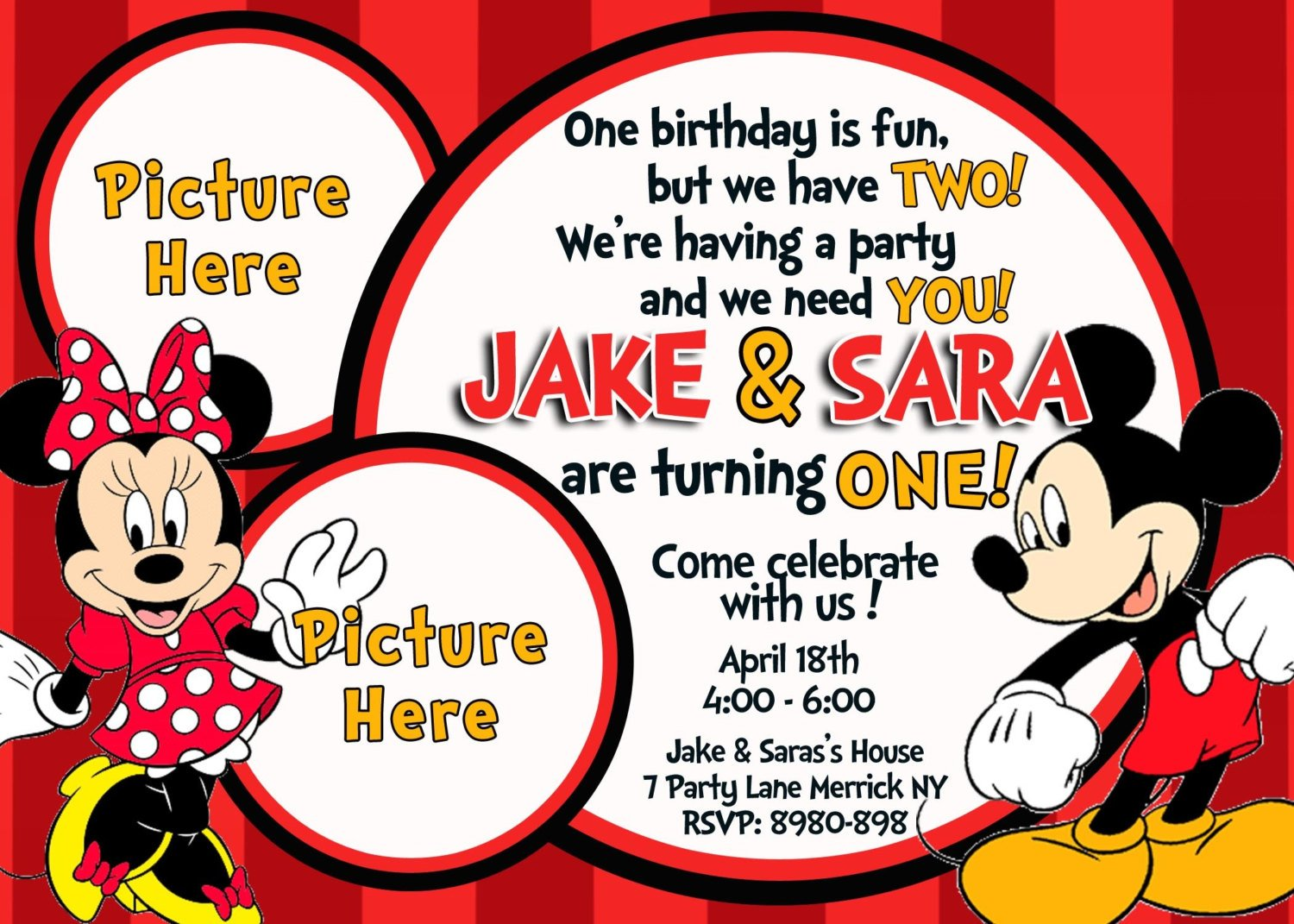 Mickey and Minnie Mouse Birthday Invitations – Bagvania FREE ...