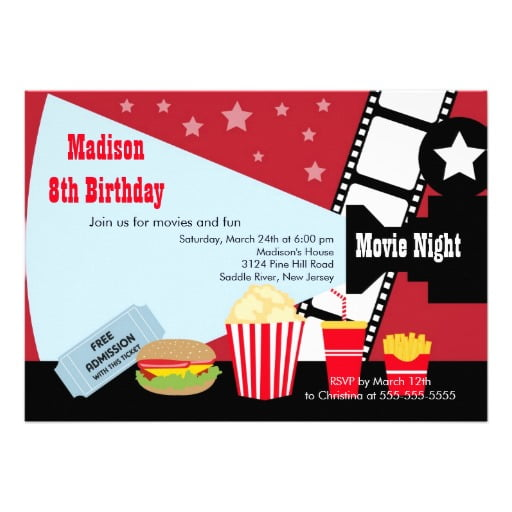 Simple Movie Birthday Party Invitations