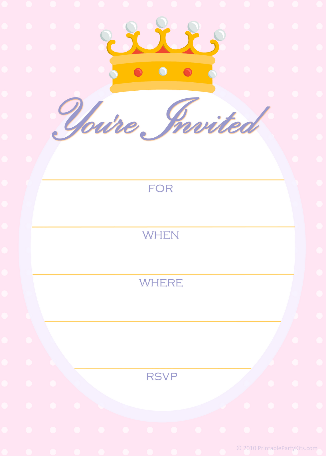 King Crown Free Printable Birthday Invitation Template