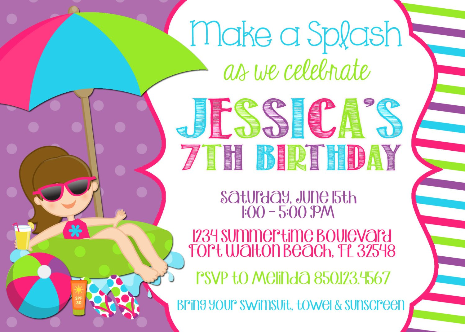 Splish Splash Birthday Pool Party Invitation 7th Girl