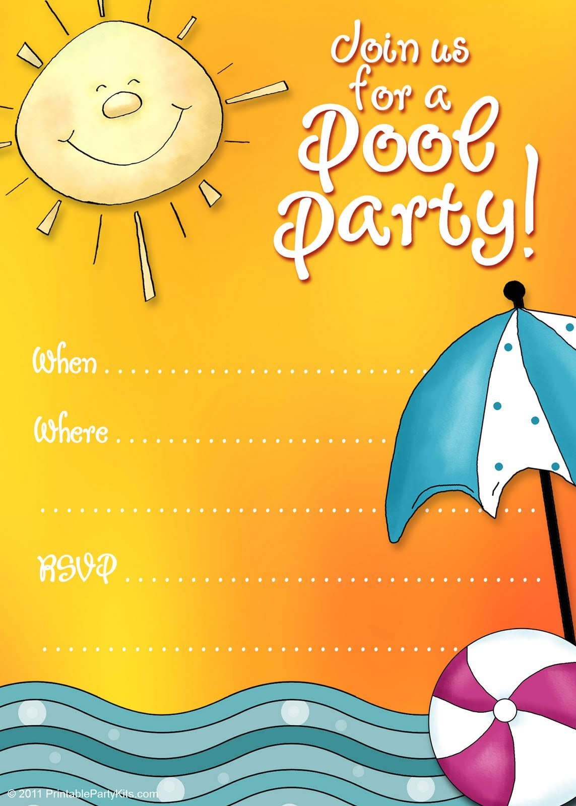 Summer pool party Free Printable Birthday Invitation Template