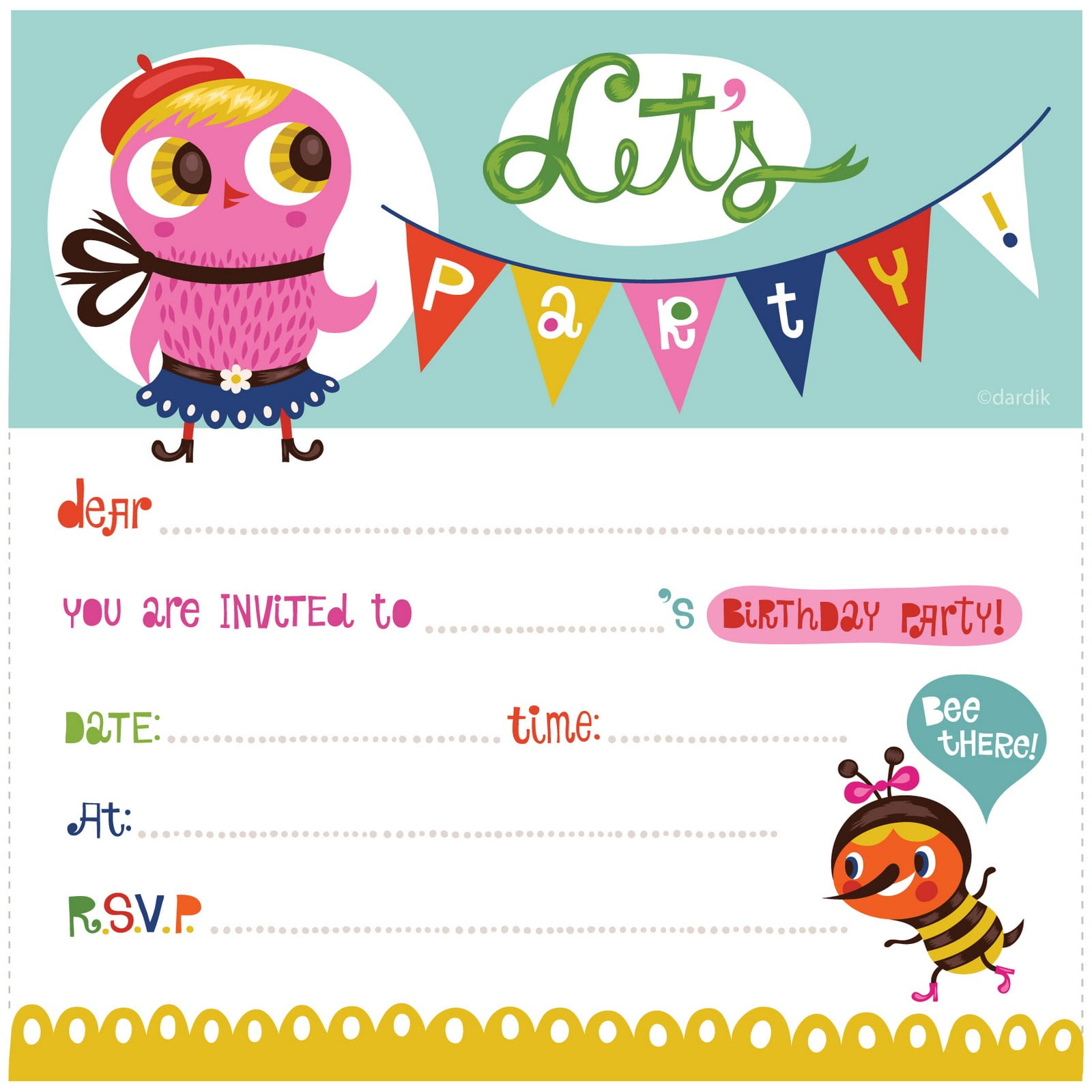 Cute Free Printable Birthday Invitation Template