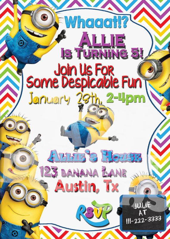 image about Free Printable Minion Invitations identify 5 X 7 Printable Despicable Me Minion Birthday Occasion