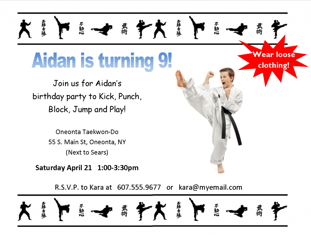Karate Birthday Invitations for Kids Bagvania FREE Printable – Martial Arts Birthday Invitations