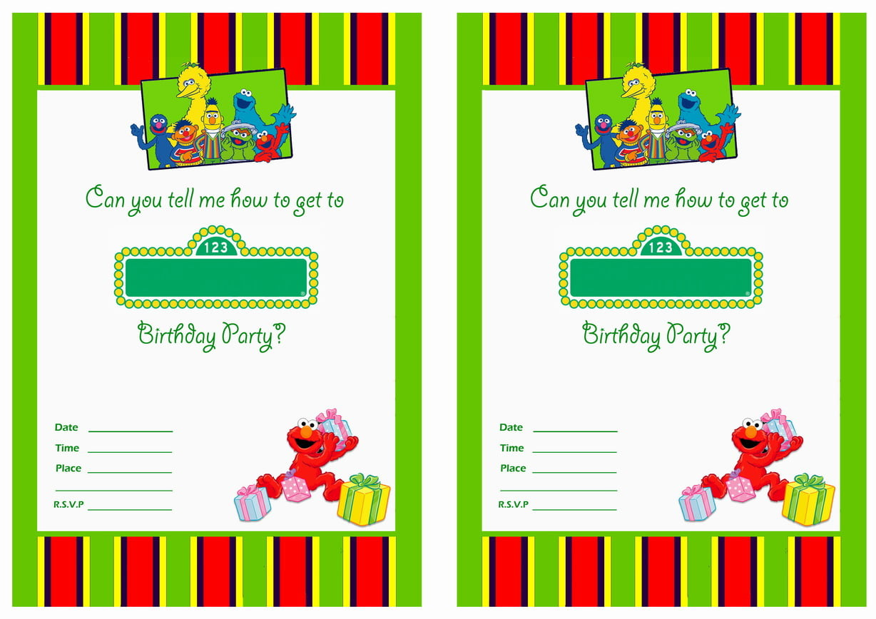 Free printable sesame street 1st birthday invitations for Free printable invitation templates