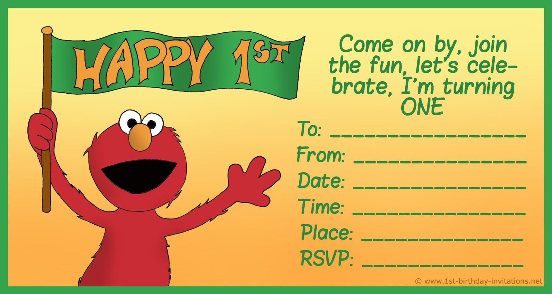 elmo template for invitations - free printable sesame street 1st birthday invitations