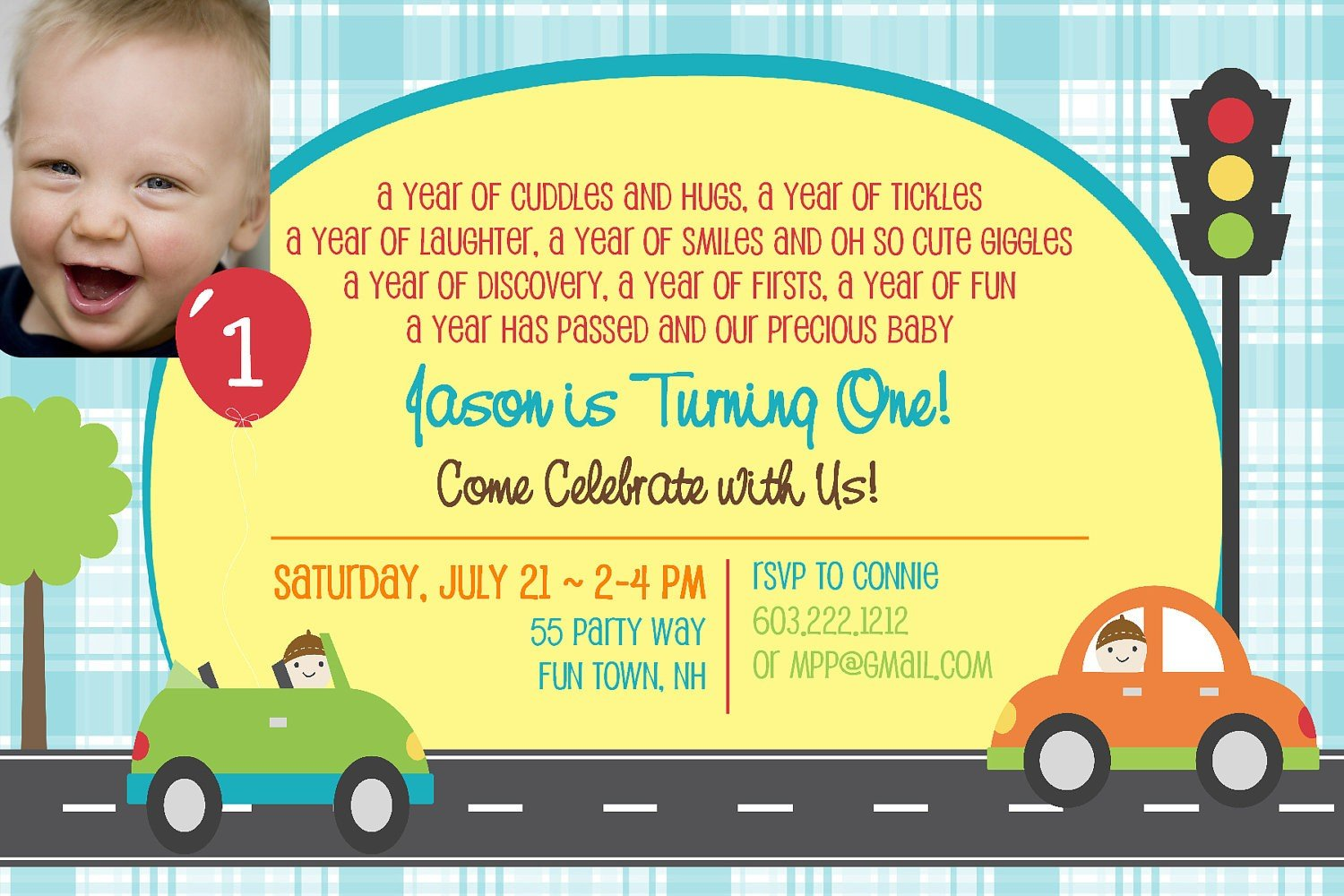 Traffic Baby First Birthday Invitations
