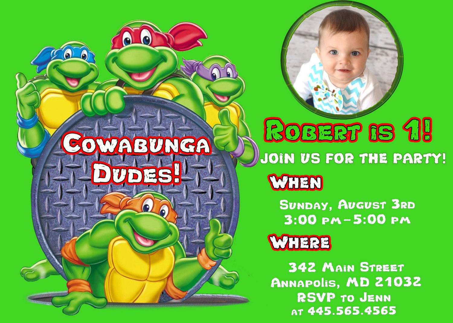 Teenage Mutant Ninja Turtle Birthday Party Invitations – Bagvania ...
