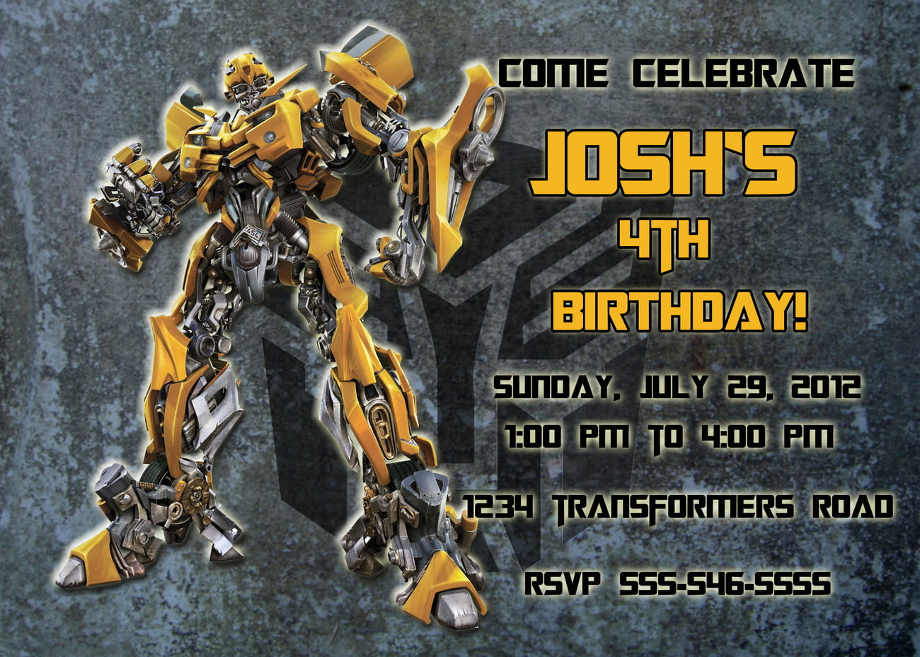 Simplet 4th Bumblebee Transformer Birthday Invitations