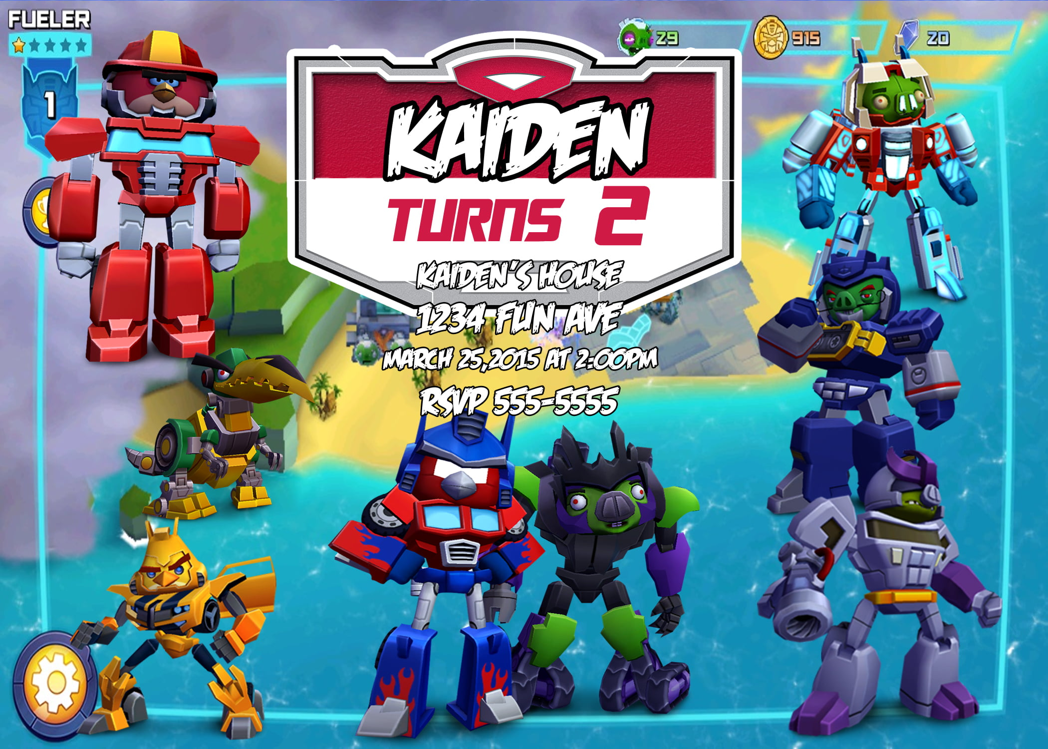 Angry Birds Transformers Birthday Invitation