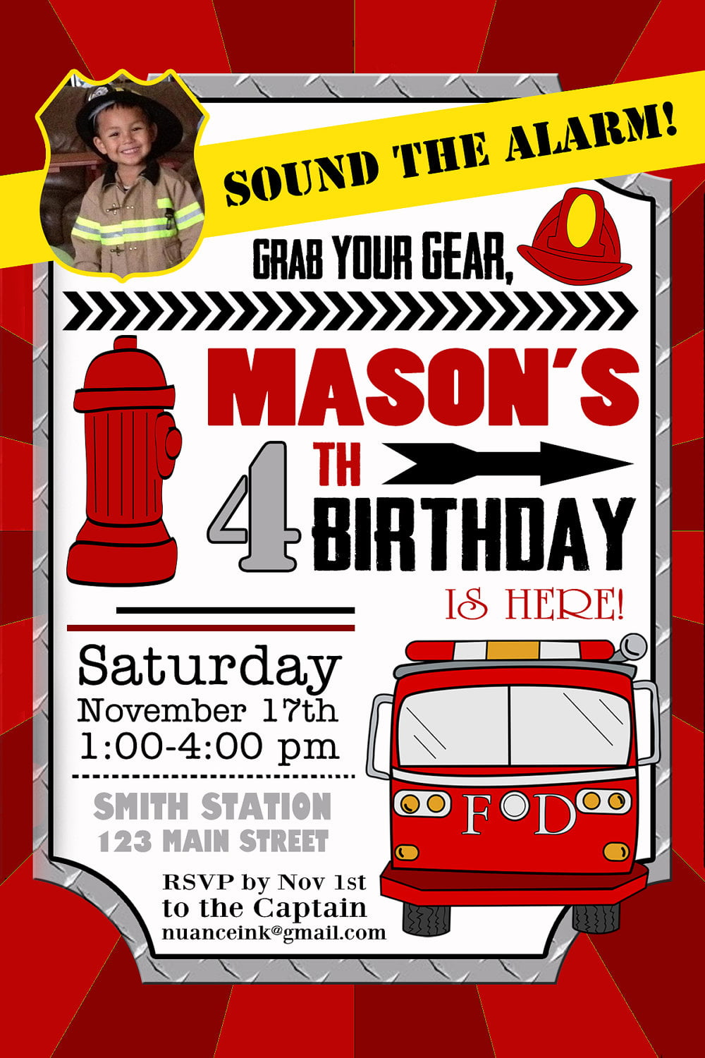 Fire Truck Party Invitations – Fire Truck Birthday Invitation