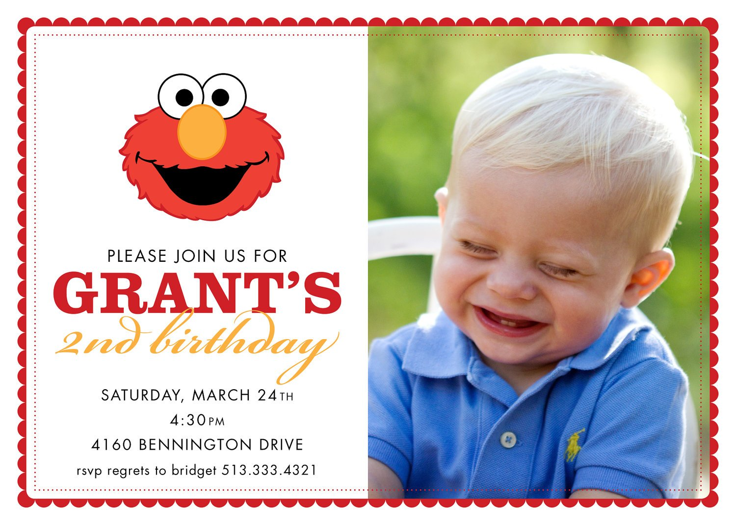 Elmo 1st Birthday Invitations With Photo 2nd