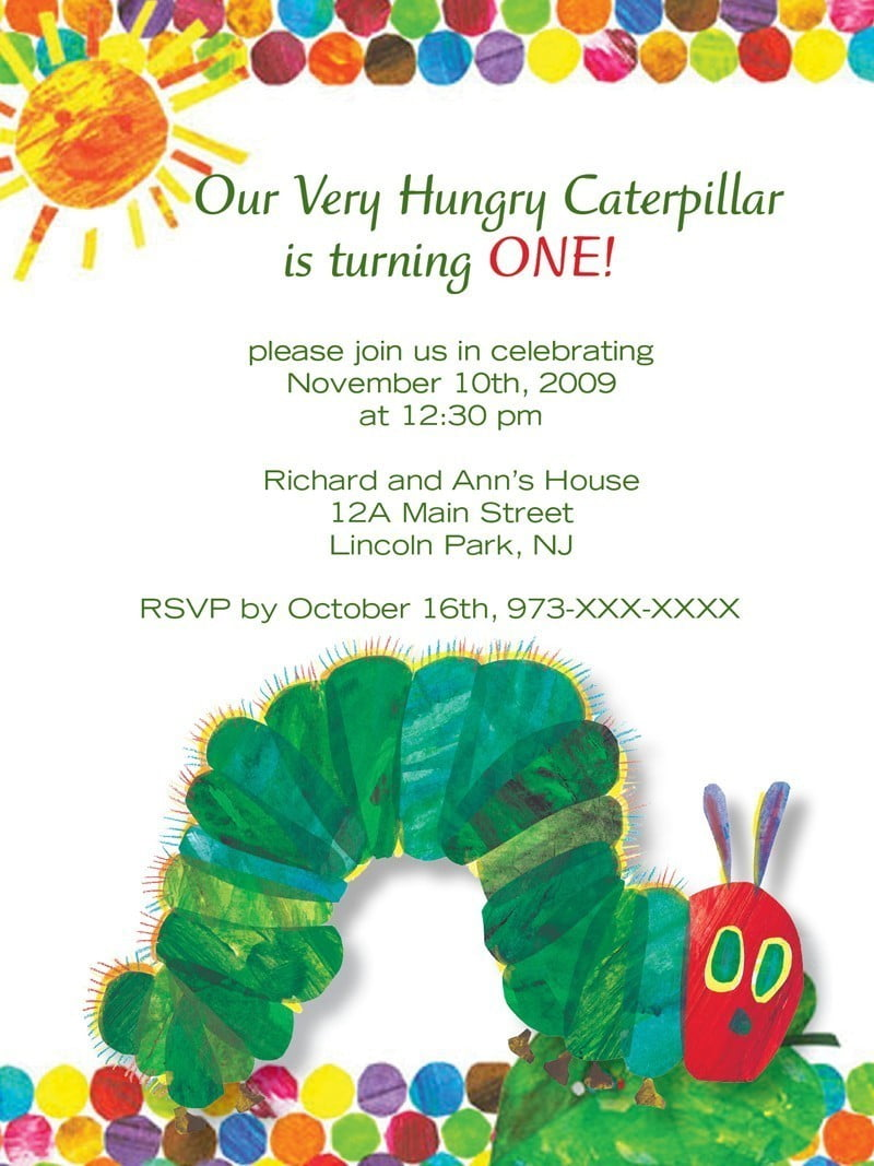 Very Hungry Caterpillar Birthday Invitations – FREE ...